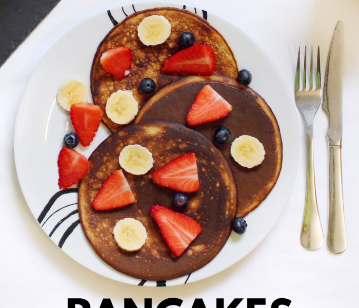 Gluten-Free Banana-Chocolate Pancakes With Fresh Fruits – short title version